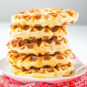 Belgian Liege Waffles stacked on plate