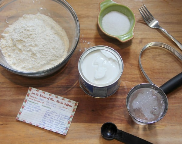 Ingredients measured out with recipe card