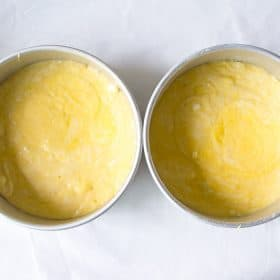 Raw cake batter in cake pans