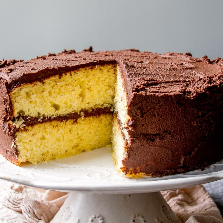 2 layered yellow cake with chocolate frosting