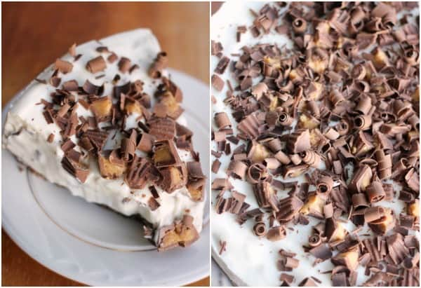 Left side: slice of cheesecake on plate, right side: upclose view of peanut butter cup and shaved chocolate toppign