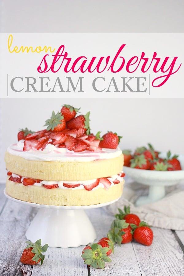 Lemon Strawberry Cream Cake on a cake stand