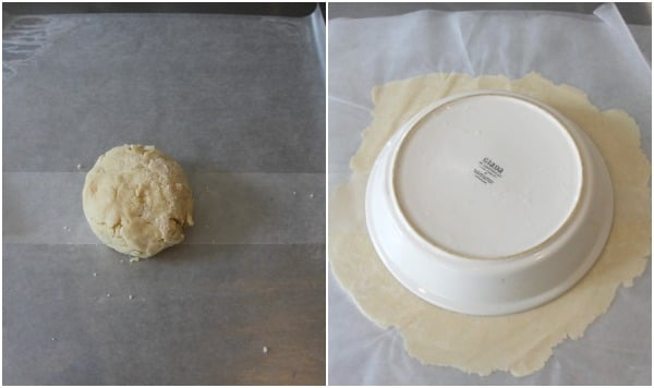 Left side: pie crust dough ball, right side: rolled out dough with a pie plate on top to measure