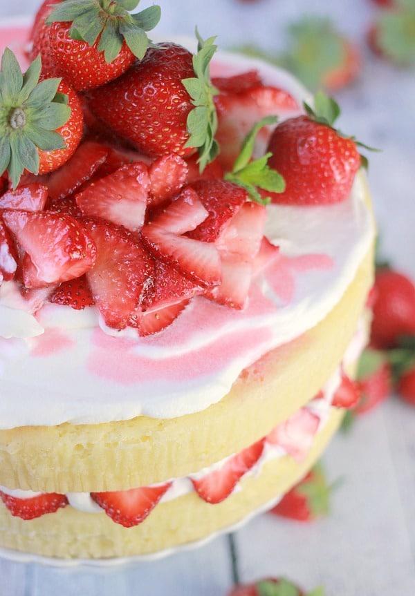 Lemon Strawberry Cream Cake- Baker Bettie