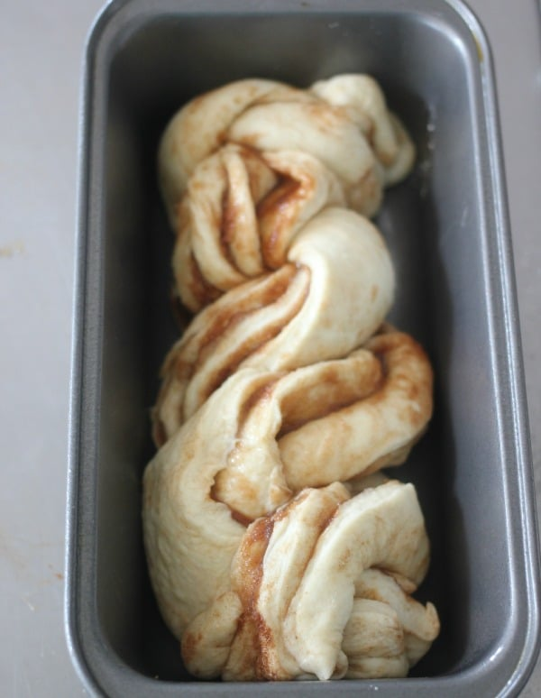 cinnamon braided loaf ready for the oven