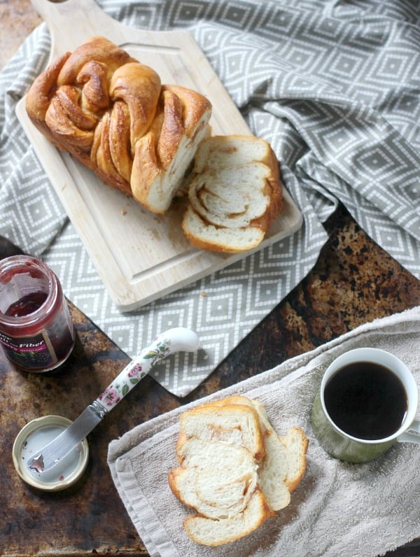 Braided Cinnamon Loaf sliced up