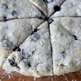 Scone dough cut into triangles