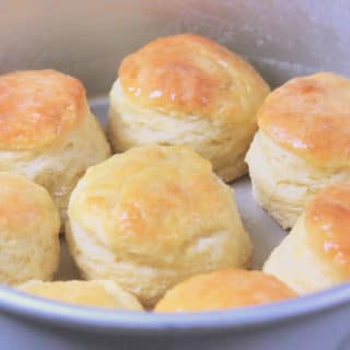 Buttery biscuits in pan