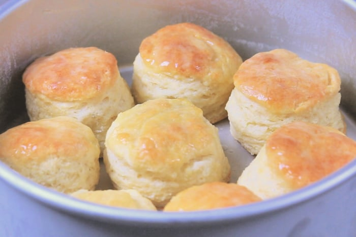 Baked biscuits right out of the oven in cake pan