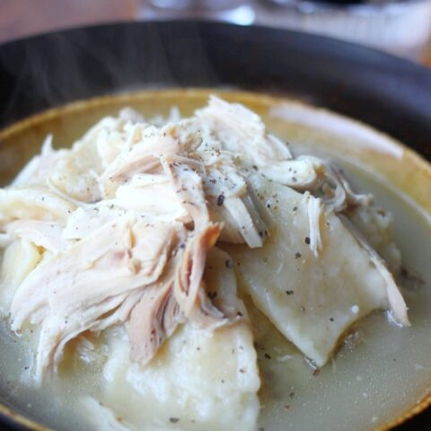 Chicken and Flat Dumplings in a soup bowl