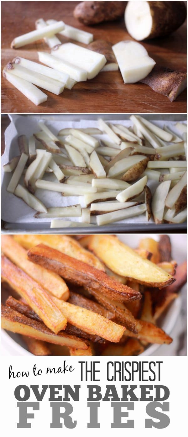 The process of cutting potatoes into fries and baking them