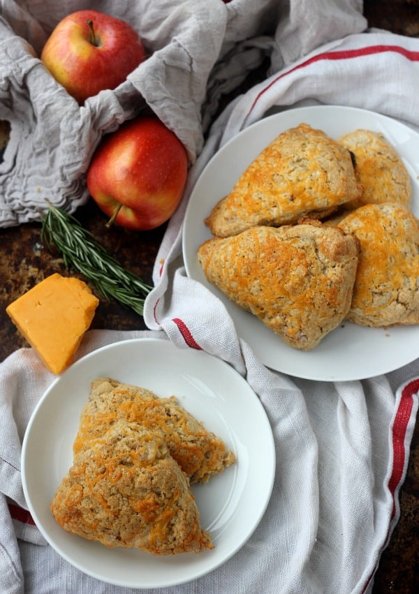 Apple Cheddar Scones on plates
