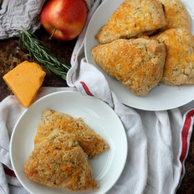 Apple Cheddar Scones on plates