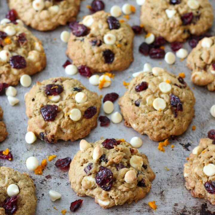 White Chocolate Cranberry Oatmeal Cookies lined up after baked