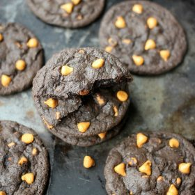 Dark Chocolate Butterscotch cookies on a baking sheet