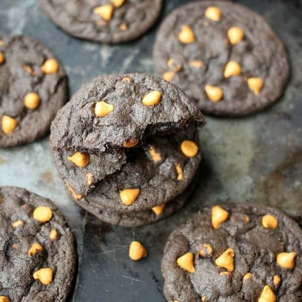 Dark Chocolate Butterscotch cookies on a baking sheet