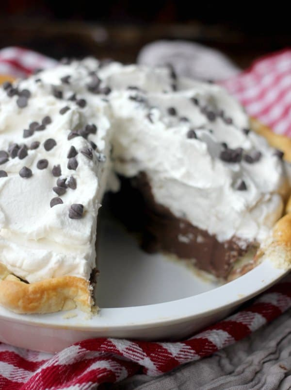 Chocolate Cream Pie with a slice taken out