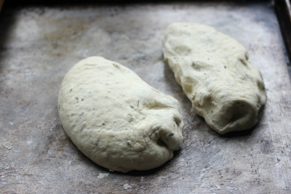 Dough divided into 2 pieces