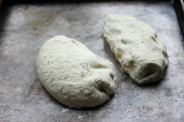 Dough divided into 2 pieces