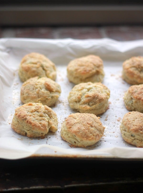 Black Pepper and Sage Buttermilk Biscuits on a baking sheet