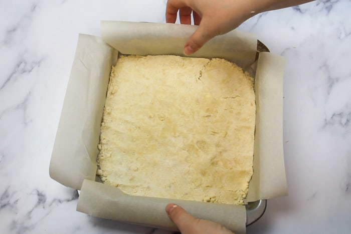 """Crust in 9x9"""" pan ready to bake"""