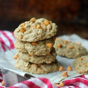Chewy Oatmeal Scotchie cookies stacked up