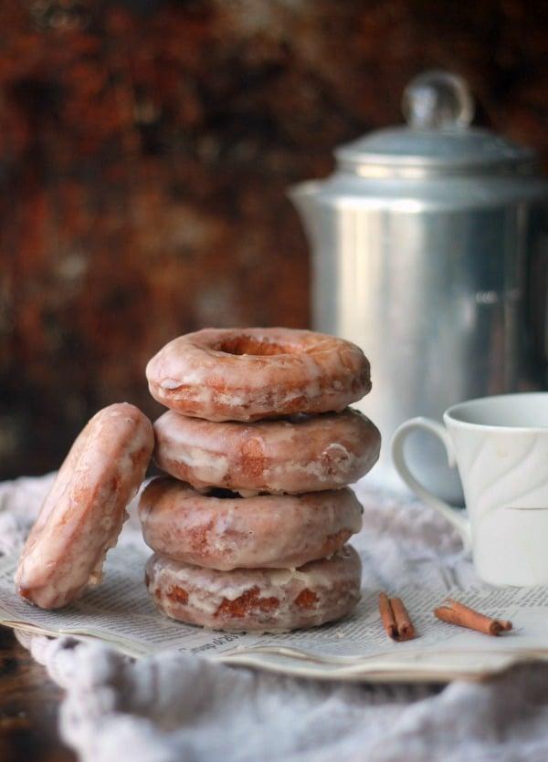 Glazed Cinnamon Cake Donut Recipe- Baker Bettie