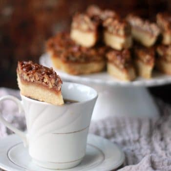 Pecan shortbread bars lined up on a tray