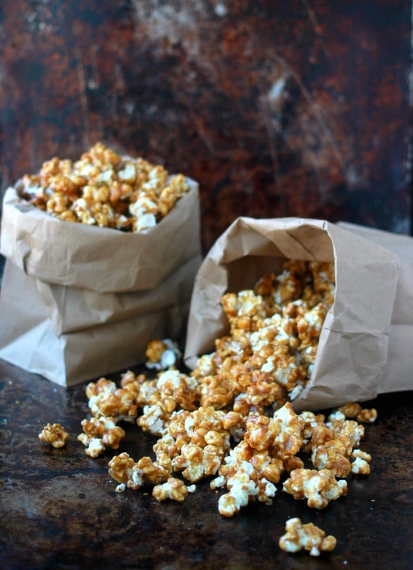 Salted Caramel Corn spilling out of paper bags