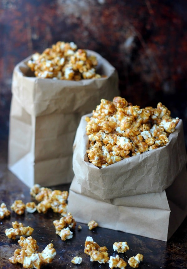 Salted Caramel Corn in paper bags