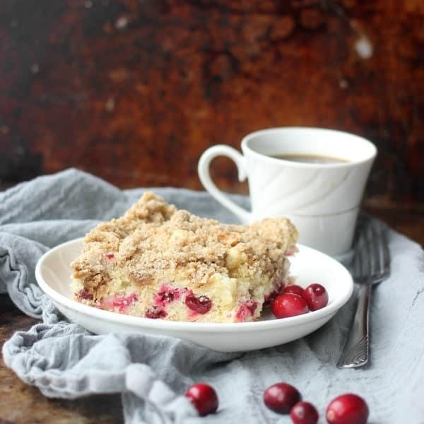 A slice of Cranberry Sour Cream Crumb Cake