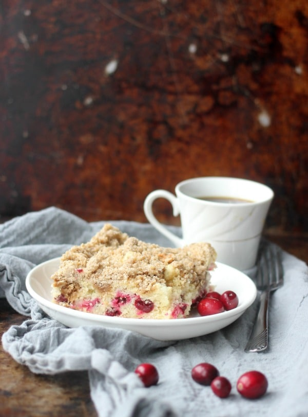 A slice of Cranberry Sour Cream Crumb Cake