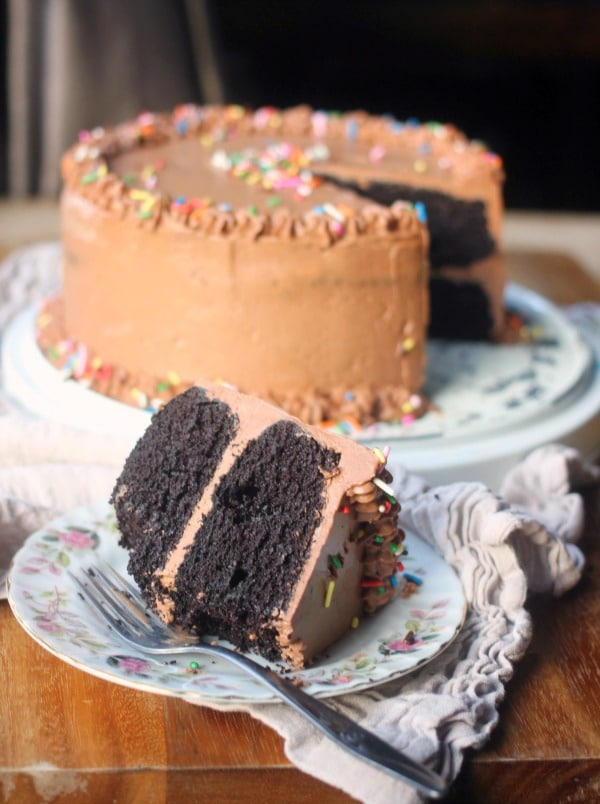 A slice of Chocolate Cake with Swiss Meringue Buttercream