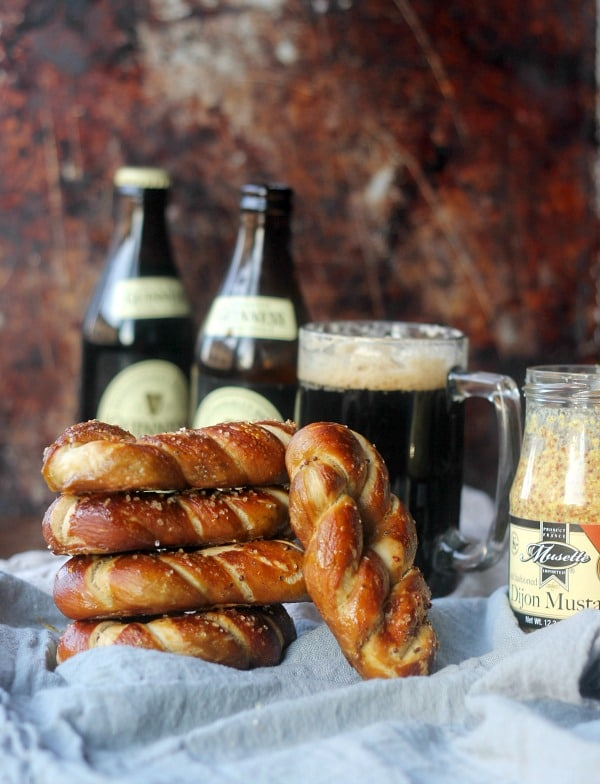 Dijon Stout Soft Pretzels stacked up