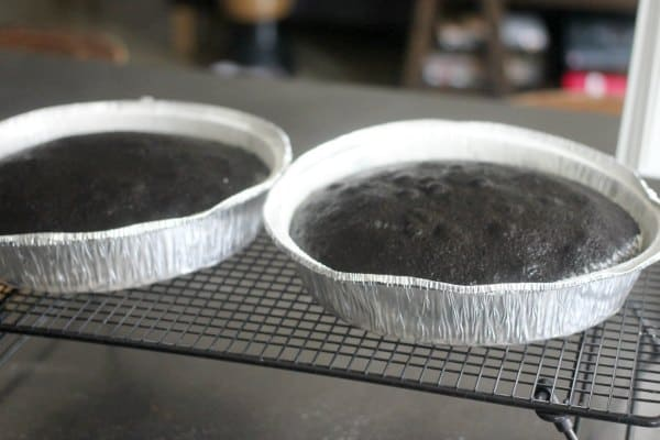 Cake layers cooling on a wire rack