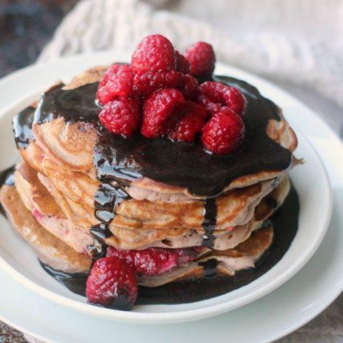 Raspberry Pancakes with Chocolate Glaze