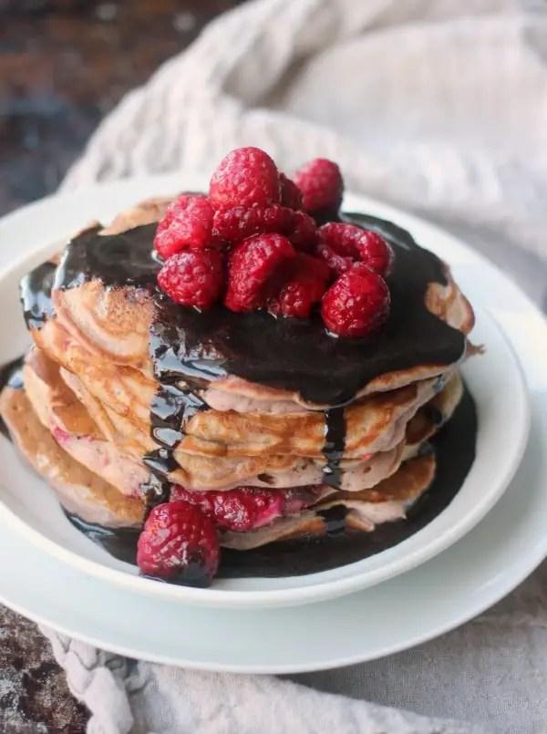 Raspberry Pancakes with Chocolate Glaze- Baker Bettie