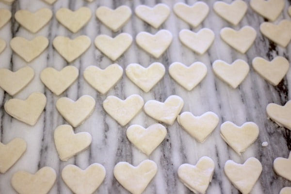 Scrap pie crust turned into heart shapes for decoration