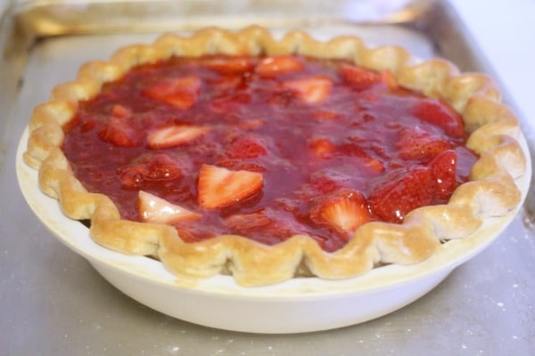 Filling added to cooked pie crust