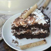 A slice of Chocolate Crunch Celebration Cake