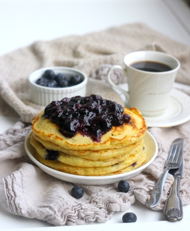 "These fluffy blueberry buttermilk pancakes really live up to the ""cake"" party of their name. They are incredibly tender and light and filled with fresh blueberries. Whatever you call them: pancakes, hotcakes, flapjacks or griddle cakes, these will quickly become a favorite breakfast!"
