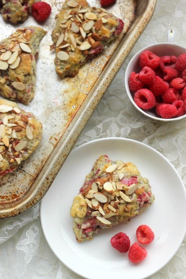 Raspberry Scones topped with sliced almonds