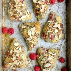 Buttermilk Raspberry Almond Scones on baking sheet