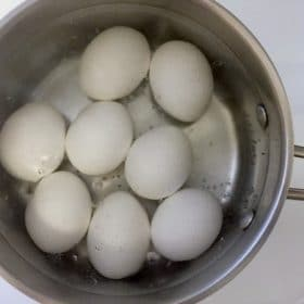Eggs in a pot of simmering water