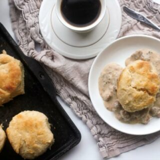Lard biscuits topped with sausage gravy