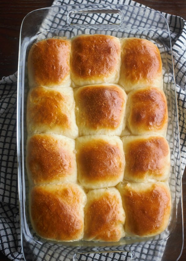 Soft Yeast Rolls in a casserole dish after baking