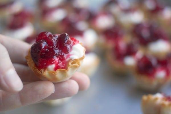 No-Bake Mini Cranberry Cheesecake Tarts | Baker Bettie