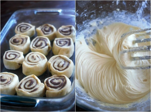 Left side: unbaked cinnamon rolls in pan. Right side: fluffy cream cheese frosting