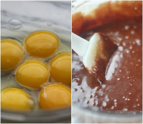 Left side: raw eggs. Right side: melted chocolate.