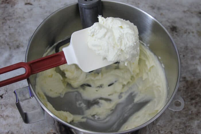 Creamed butter and sugar for shortbread cookies